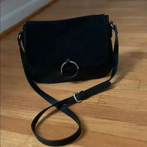 H&M faux leather cross body bag with suede flap